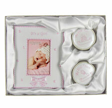 My First Tooth Curl Frame Gift Set  Baby Girl Pink Christening Gift Present