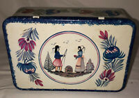 """Vintage FRANCE MASSILLY QUIMPER MAN & WOMAN 7 1/2"""" HINGED TIN BOX"""