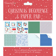 Dovecraft ~ Christmas Decoupage & paper Pad ~ 8x8 decoupage sheets ~ Red (Santa)