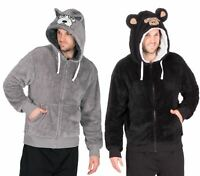 Mens Hooded Coral Fleece Snuggle Top Hoodie Jacket Gown Bed Coat Monkey Wolf