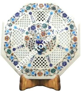 "15""x15"" White Marble Coffee Top Table Filigree Lapis Inlay Art Christmas Gift"