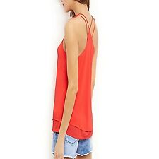 NEW 8 New Look NEON PINK DOUBLE LAYERED CAMISIOLE VEST TUNIC TOP