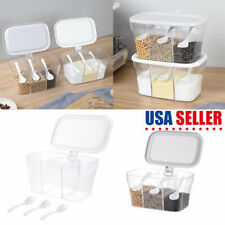 Kitchen Spice Seasoning Storage Box Container Sugar Can  Condiment With 3 Spoons