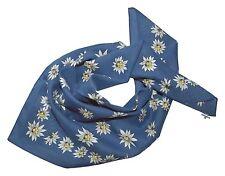Trachtentuch Trachtenhalstuch Nickituch Nicki Halstuch Edelweiß Blau Jeansblau