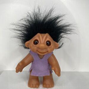 "Vintage Norfin Thomas Dam Troll Doll 604 Black Hair 1977 Felt Clothes Denmark 6"""