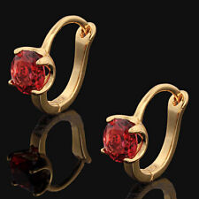 .10K Yellow Gold Filled GF 7x7mm Ruby Hoop Earrings Earings 11mm Long
