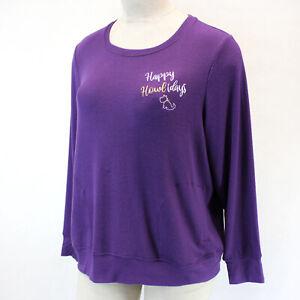 Cacique by Lane Bryant Plus Purple Christmas Dog Theme Lounge Pajama Top 22/24
