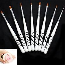 Set 8 Pennelli Fini Manico Legno per Nail Art Ricostruzione Unghie Professionali