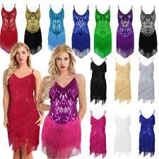 Women Flapper Sequins Tassel Ballroom Dance Latin Salsa Tango Rumba Dress Skirts