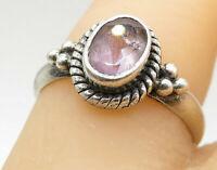 925 Silver - Vintage Amethyst Beaded Twist Trim Solitaire Ring Sz 7 - R8496