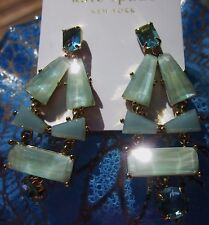 Gem Statement Earrings Blue Aqua teal Kate Spade 14K Gold-Plated Beach Glass
