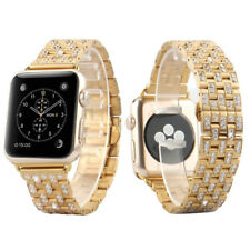 Apple Watch Bracelet 38mm 14k Gold Tone Stainless Steel Iced Out Wrist Band Mens