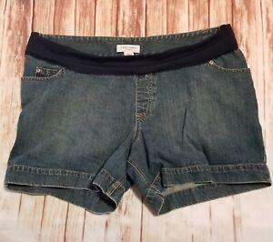 Liz Lange Maternity Dark Wash Denim Shorts XL STRETCHY & COMFORTABLE
