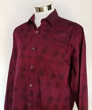 Bugatchi Uomo Sz M Classic Fit Button Front Long Sleeve Dress Shirt Burgundy