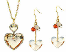 Austrian Crystal Heart Pendant Necklace Earrings Bridal Wedding Jewellery Set