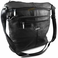 Black REAL LEATHER HANDBAG hand bag for ladies shoulder or across the body NEW