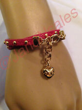 Juicy Couture Red Studded Wrap Large Heart Leather Bracelet YJRU7507