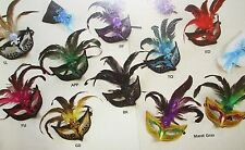 Economical FANCY Mardi Gras Feathered Plastic GLITTER MASK CHOOSE COLOR