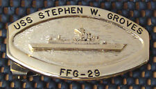 USS Stephen W Groves (FFG-29) Official Crew Belt Buckle Gold Tone female