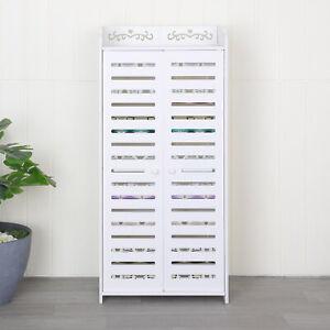5 Tier Shoes Storage Cabinet White Door Organiser Shelf Rack Stand Unit New