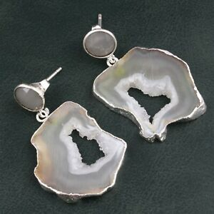 Lemon Pair Natural Geode Slice Druzy Gray Chalcedony Silver Plated Drusy Earring