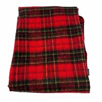 Ralph Lauren Red Green Plaid Fleece Stadium Throw Blanket 50 X 68 Football
