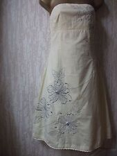 Size 10UK Jane Norman Strapless Lined Dress  With Embroidered Silver Flowers