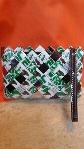 New*Nahui Ollin Foil Wrapper Woven Candy Clutch Handmade Unique Jr. Mint Wristle