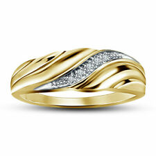 Mens 14K Yellow Gold Over 0.69 Ct Diamond Wedding Engagement Band Ring