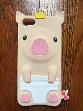 Peach Brand New 3D Cute Crown Pig Soft Silicone Rubber Case Cover For iPhone 5