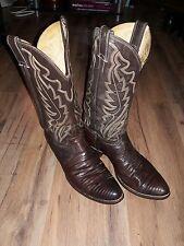 Justin Boots Men's Chocolate Iguana Lizard Exotic Cowboy Boots Size 10 D 8308)