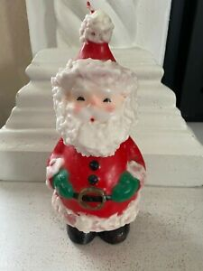 """Vintage LARGE SANTA CLAUS Candle Christmas Candle Red White 10"""" UNUSED 1970'S"""