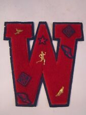 "Vintage Letterman'S Letter ""W"" With Pins - Unknown Origin & School - 8"" X 8"" Ru"