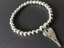 Hammered HEART Beaded stretch bracelet Boho Bijoux Stackable