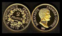 ★★ JOLIE COPIE PLAQUE OR DE LA RARE 2 FRANCS AN 12 T NANTES CONSUL ★★ NEUVE FDC