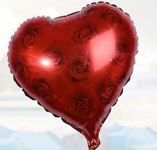Heart Foil Balloon - Red Rose Heart Shape Helium Foil Balloon (45cm/18'')