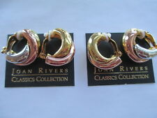 Gold, Silver, and Rose Gold Tones Heavy 2 Joan Rivers Signed Clip-On Earrings in