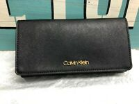 Calvin Klein Saffiano Leather Continental Trifold Carryall Wallet New Black Gold