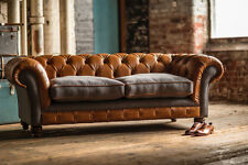 RUSTIC TAN LEATHER & GREY WOOL 3 SEATER VINTAGE CHESTERFIELD SOFA COUCH,