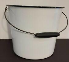 Vintage Enamel Bucket - White With Black Rim