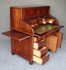Antique impressive multi function writing desk roll top bureau cabinet leather