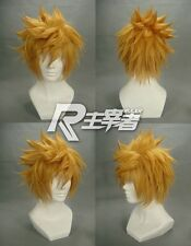 Kingdom Hearts Roxas Short Flip Out Golden Blonde Cosplay Wig + wigs hairnet