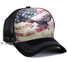 USA American Flag hat cap Vintage Flying Bald Eagle Mesh Snapback Baseball cap