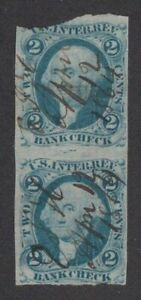 1862 U.S. Scott # R5a Two Cent Pair of Revenue Stamps