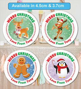 Merry Christmas Stickers Label Santa present Personalised MATT & GLOSS &24 & 35