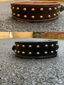 "2"" Wide Dog Collar Studded Leather Pet Collar For Large Breeds Pit Bull Strong"