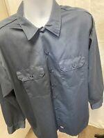 Men's Dickies 574 Blue Uniform Long Sleeve Button Shirt Sz XL-EUC
