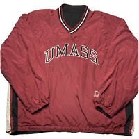 Vintage 90s Starter Mens XL UMASS Reversible Windbreaker Pullover Embroidered