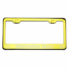 T304 Gold Chrome License Plate Frame Stainless Steel Mercedes Benz Laser Etched