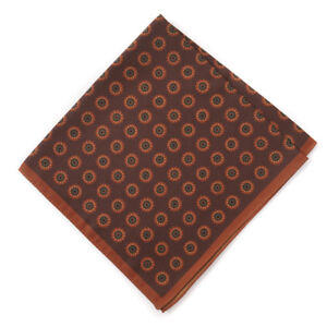 New $125 LUCIANO BARBERA Rust Floral Medallion Print Silk Pocket Square